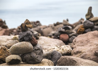 View on rocks and sea from Reykjavik in Iceland.