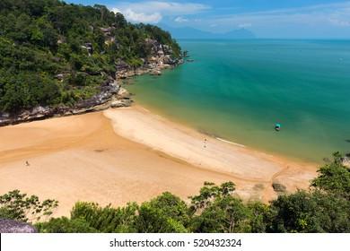 View on the Rocky beach of Teluk Pandan kecil in the bako national park, Kuching, Borneo. Malaysia