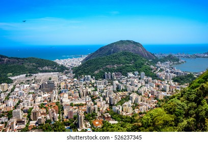 View on Rodrigo de Freitas Lagoon and Zona Sul from Mirante Dona Marta at the National Park of Tijuca, Rio de Janeiro,