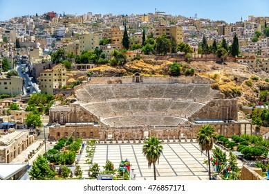 Vista del Teatro Romano en Ammán - Jordania