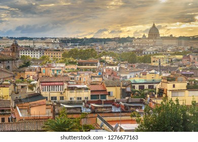 View on Rome city with St. Peter's Basilica Vatican from Terrazza Viale del Belvedere. Italy
