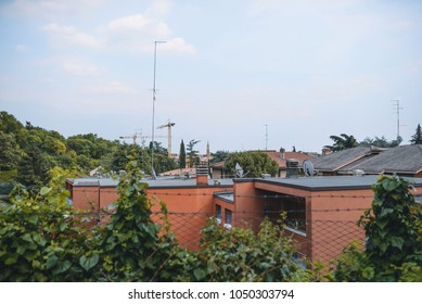 view on roofs of houses over fence