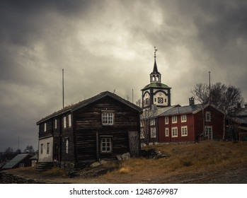 View on Roros church. Scandinavian original architecture. Norwegian, old mining town. Listed by UNESCO Worlds Heritage.