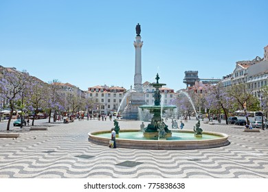 View on Rossio square in Lisbon Portugal