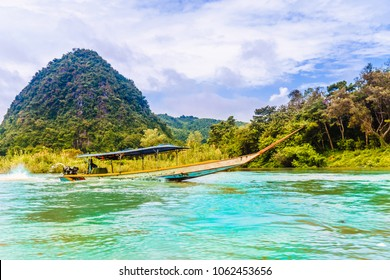 View on round hill by Nam Kok river by Chiang Rai - Thailand