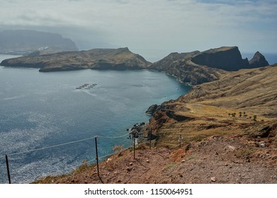 View on rugged trail leading from Madeira island to it's easternmost point - Ponta de Sao Lourenco cape.