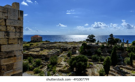 View on the ruins of a Phoenician city and Roman temples from the tower of a Crusaders castle in jubail (Byblos) Lebanon