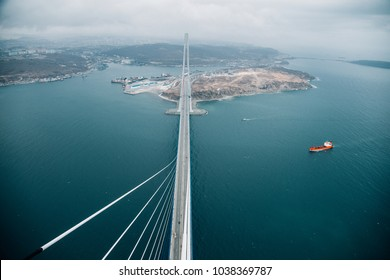View on Russky Island From a Pylon of a a World Longets Cable Stayed Bridge in Russia, Vladivostok with Far East Federal University (DVFU) campus at the background