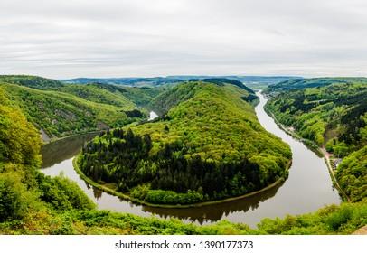 View on Saar loop (Saarschleife) by Cloef, Mettlach. Saarland, Germany.