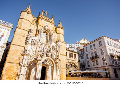 View on the saint Croix church near the city hall building in Coimbra city in the central Portugal