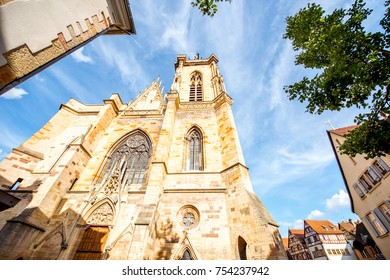 View on the saint Martins cathedral in the center of Colmar town during the sunny weather in Alsace region, France