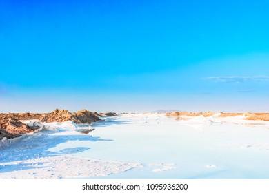 View on salt lake by Varzaneh in iran