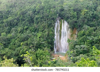 The view on the Salto de Limon the waterfall located in the centre of the tropical forest, Samana, Dominikana Republic.