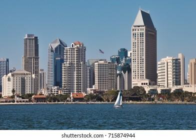 View on San Diego downtown from Coronado peninsula beach