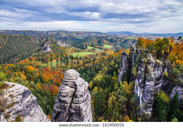 View on Sandstone Rocks with Autumn Forest - Bastei, Germany