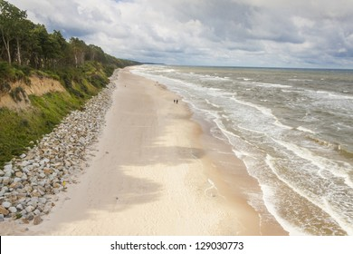 View on sandy beach - Poland, Rewal, Baltic sea.