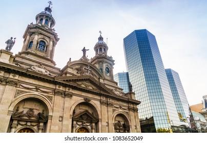 View on Santiago Cathedral at Plaza de Armas in Santiago de Chile