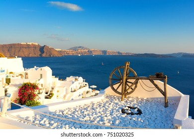 View on Santorini island during sunset, Cyclades, Greece