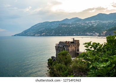 View on the Saracena tower of Maiori, Amalfi coast. June 18 2018 Maiori, Campania - Italy