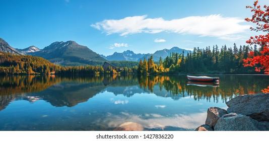 View on scenic mountain lake Strbske pleso (Strbske lake) in High Tatras national park, Slovakia