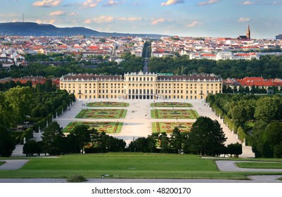 View on the Schonbrunn palace in Vienna, Austria.
