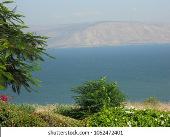 View on Sea of Galilee from the Biblical site of Capernaum on a bright summer day