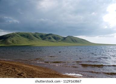 View on Semizbuga mountain from the lake Rudnichnoe