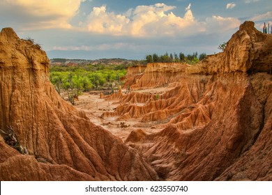 The view on sharp rocks in sunset light in Tatacoa desert, Colombia