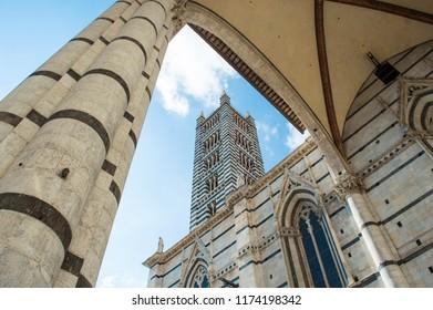 View on Siena Cathedral (Duomo di Siena) named Santa Maria Assunta. Beautiful medieval Church in Siena, Tuscany, Italy, Europe
