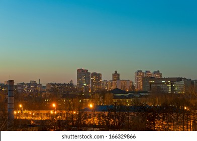 View on skyline with burned windows and lamps at night. Moscow, Russia.