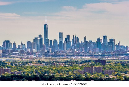 View on the skyline of Lower Manhattan from Eagle Rock Park, with the forests of New Jersey in the foreground