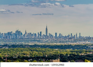 View on the skyline of Midtown Manhattan from Eagle Rock Park, with the forests of New Jersey in the foreground