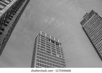 View On The Skyscrapers At The Amstelplein Amsterdam The Netherlands 2018 In Black And White