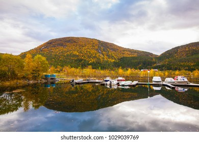 view on small marina on Hitra island, Norway