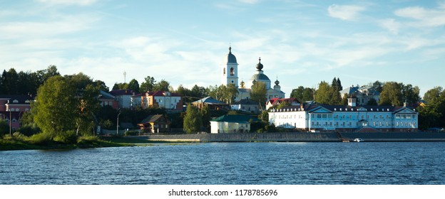 View on small provincial town Myshkin located on Volga river