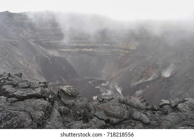 View on smoking crater, border, Piton de la Fournaise, Reunion Island, France