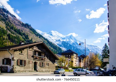 The view on the Snow-capped Mont Blanc mountain from Chamonix town in spring time