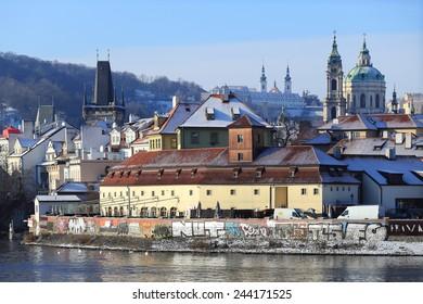 The View on snowy Prague St. Nicholas' Cathedral, Czech Republic