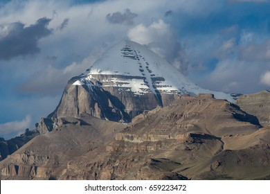 View on the south face of holy mount Kailash, a sacred place of pilgrimage for buddhists and hindus in Tibet, China