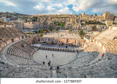 View on South Roman Theatre in the center of Amman, Jordan - Image, selective focus