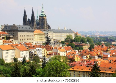 View on the spring Prague gothic Castle with the green Nature, Czech Republic