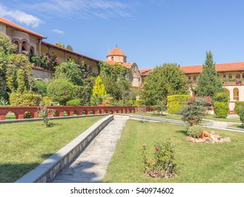 View on St. Ephrem the Syrian monastery courtyard. Kondariotissa, Pieria, Greece.