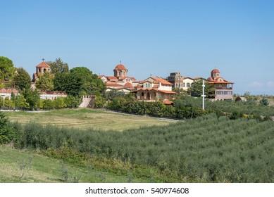 View on St. Ephrem the Syrian monastery. Kondariotissa, Pieria, Greece.