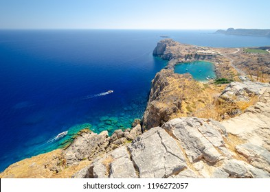 view on St Paul's Bay in Lindos, Rhodes island, Dodecanese, Greece