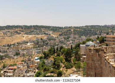 View on St. Peter in Gallicantu Monastery on Zion Mount in Jerusalem from old city wall
