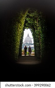 View on St Peter's Basilica as seen through the Aventine Keyhole, Rome