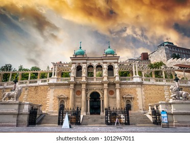 view on stairs in Buda castle from street