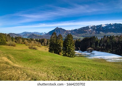 View on Stanserhorn from Schwarzenberg in canton Obwalden, Switzerland
