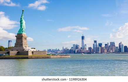 View on the Statue of Liberty and the Manhattan Skyline in New York City, United States