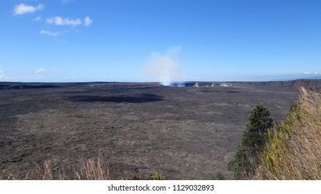View on steaming Kilauea crater from a viewing point in Volcanoes National Park (Big Island, HI, USA)